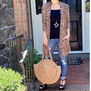 Leopard Longline Open Cardigan W/ Pockets NEW